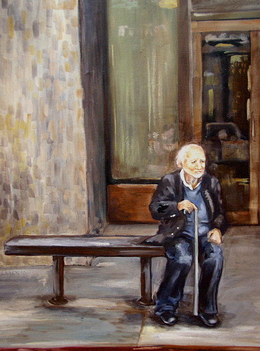 Old Man Painting - Bus Stop by Ixchel Amor