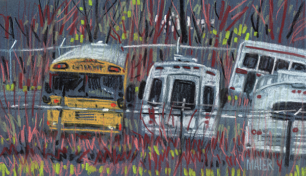 Bus Drawing - Bus Yard by Donald Maier