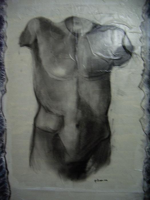 E' Vietata La Riproduzione Totale O Parziale Dell'opera Painting - Busto Maschile by Amalia Passaro