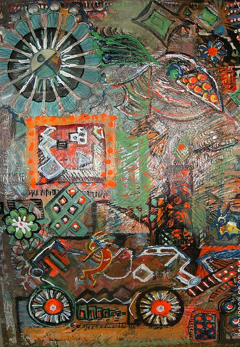 Busy Mixed Media - Busy Wheels And Things by Anne-Elizabeth Whiteway