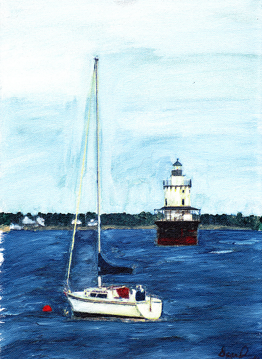 Boat Painting - Butlers Flat New Bedford by David Poyant