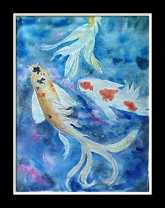 Watercolor Painting - Butterfly Koi by Dolores Fegan