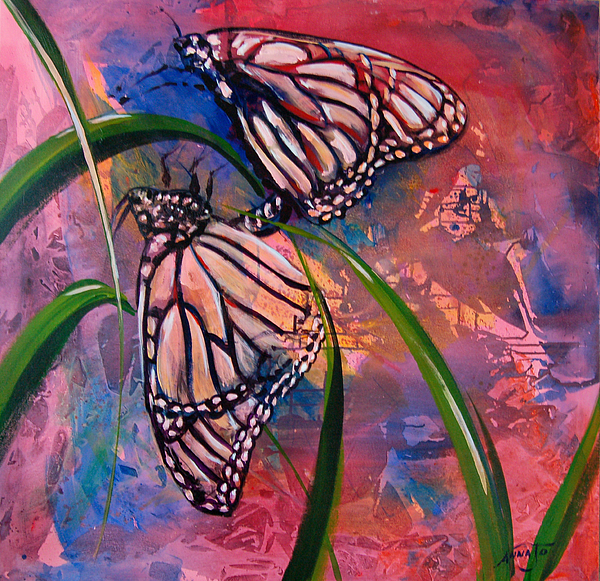 Butterflies Painting - Butterfly Love by AnnaJo Vahle