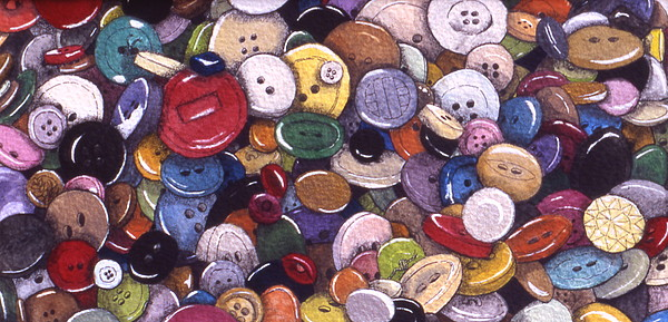 Buttons Painting - Buttons by Victoria Heryet