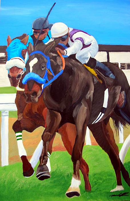 Horse Racing Painting - By A Nose by Michael Lee