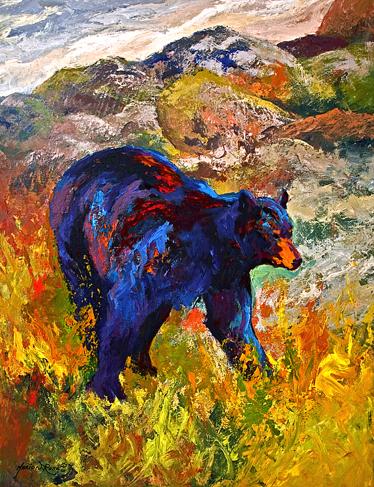 Bear Painting - By The River - Black Bear by Marion Rose