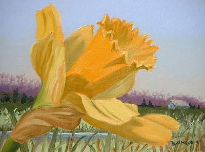 Daffodil Painting - By The Spring by Thaw Malin III