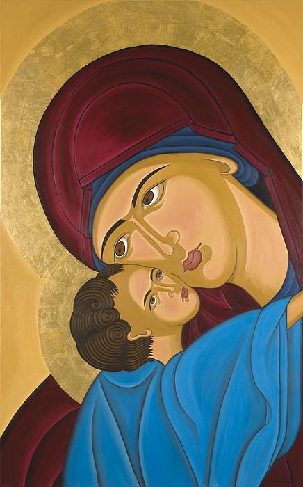 Contemporary Byzantine Art Painting - Byzantine Art Mother Love by Marinella Owens