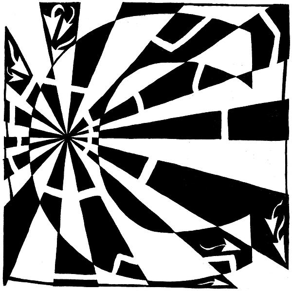 Maze Drawing - C-maze by Yonatan Frimer Maze Artist