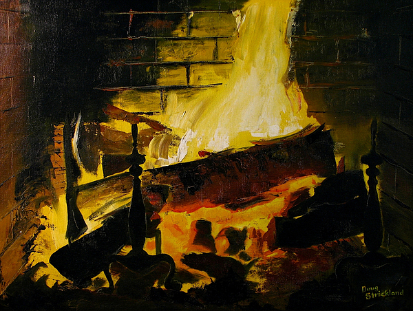 Antique Painting - Cabin Fireplace by Doug Strickland