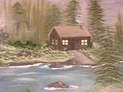 Cabin On The Creek Painting by Florence Hazen