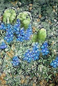 Cactus And Bluebonnets Painting by Lynda Wilson