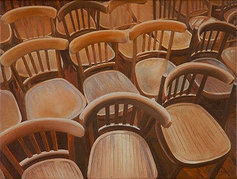 Cafe Chairs Painting by Leone Holzhaus