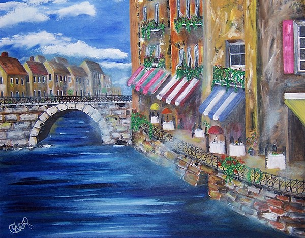 Landscape Painting - Cafe Walk by Penny Everhart