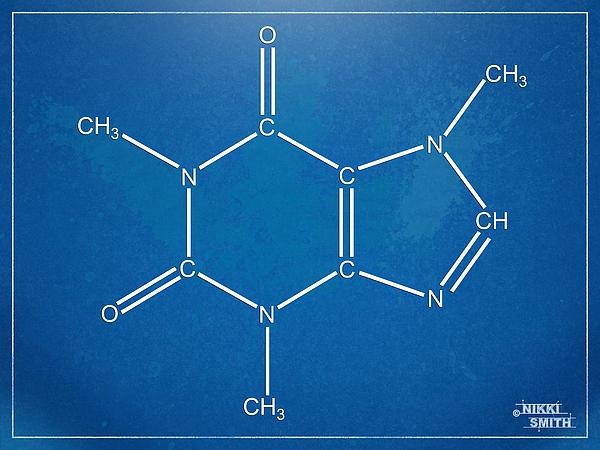 Caffeine Digital Art - Caffeine Molecular Structure Blueprint by Nikki Marie Smith