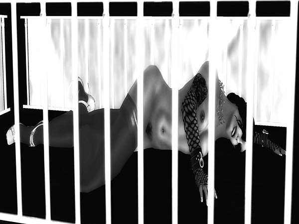 Erotic Digital Art - Caged by Theda Tammas