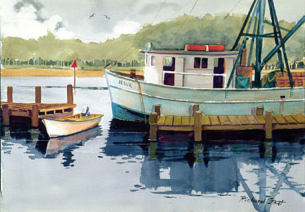 Boats Painting - Calabash Docks by Richard Staat