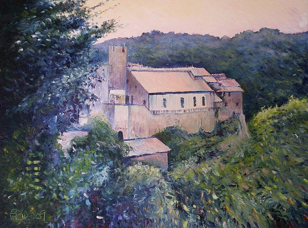 Oils On Canvas Painting - Calcata Lazio Italy 2009 by Enver Larney