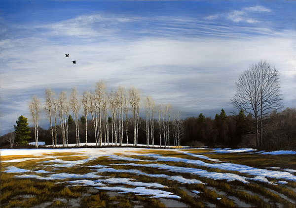 Landscape Painting - Calico Field With Crows by Murad Sayen