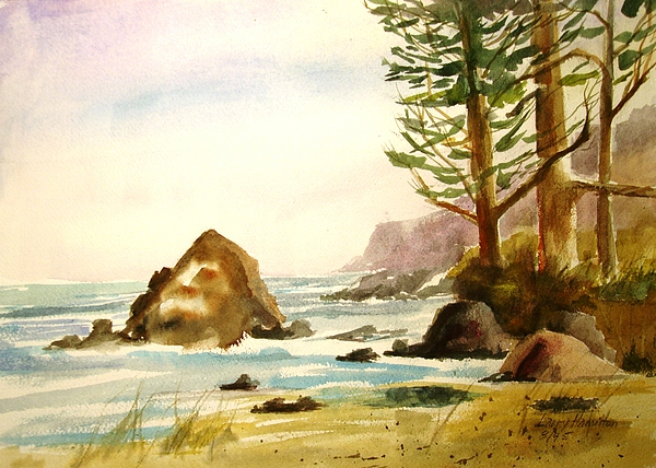 Watercolor Painting - California Coast by Larry Hamilton