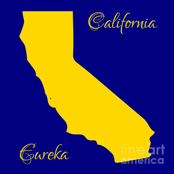 California Digital Art - California Map With State Colors And Motto by Rose Santuci-Sofranko