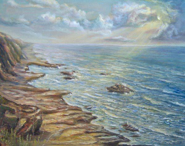 Landscape Painting - California Shore by Katalin Luczay