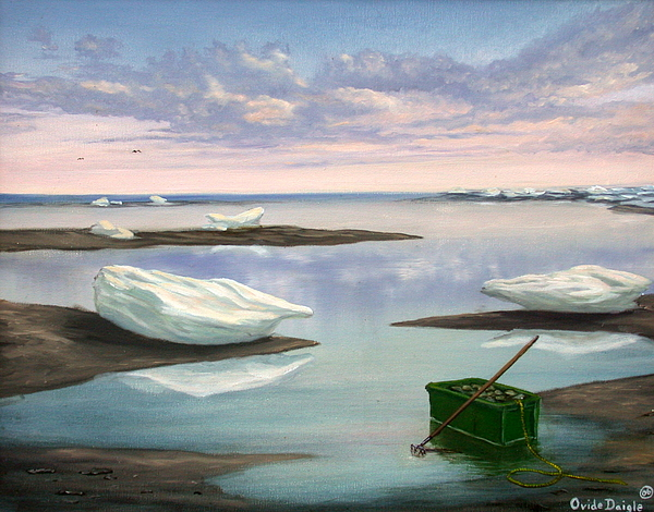 Seascape Painting - Calm Sea by Ovide Daigle