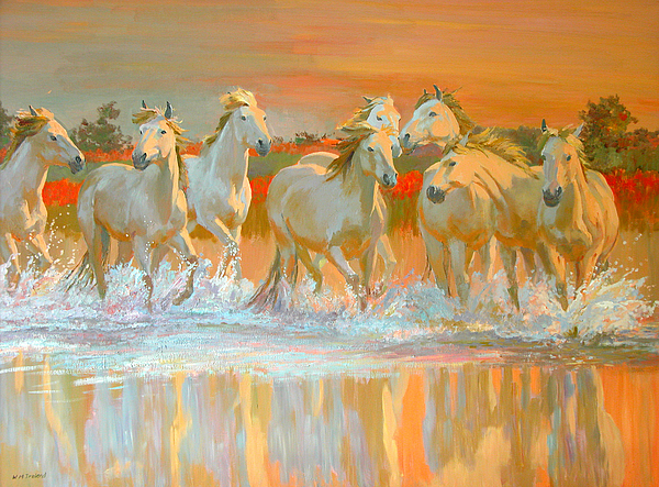 Horses Painting - Camargue  by William Ireland