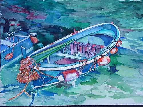 Camogli Fishing Skiff Painting by Suzanne Canner