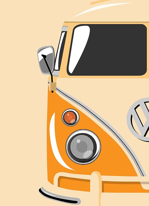 Vw Camper Van Digital Art - Camper Orange by Michael Tompsett