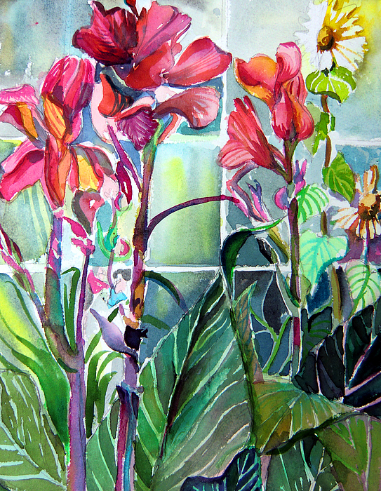 Lilies Painting - Cana Lily And Daisy by Mindy Newman