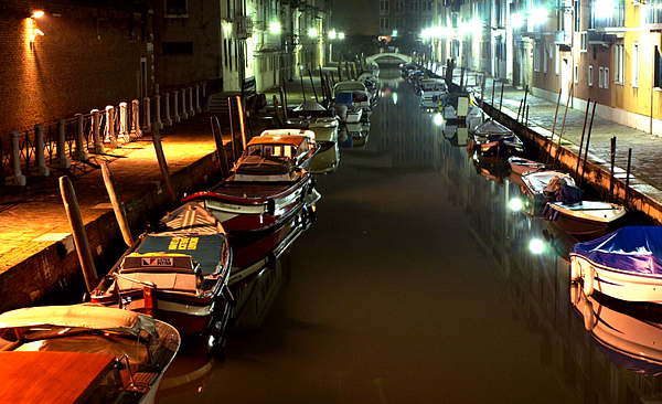Venice Photograph - Canal In Venice At Night by Michael Henderson