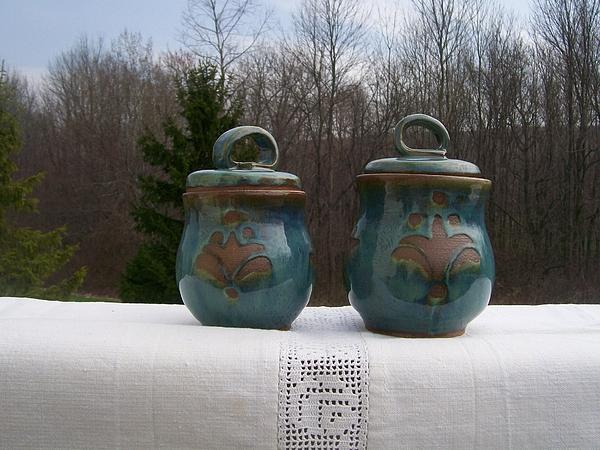 Flour Ceramic Art - Canister Set Blue by Monika Hood