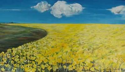 Landscape Painting - Canola Field by Eileen Kasprick