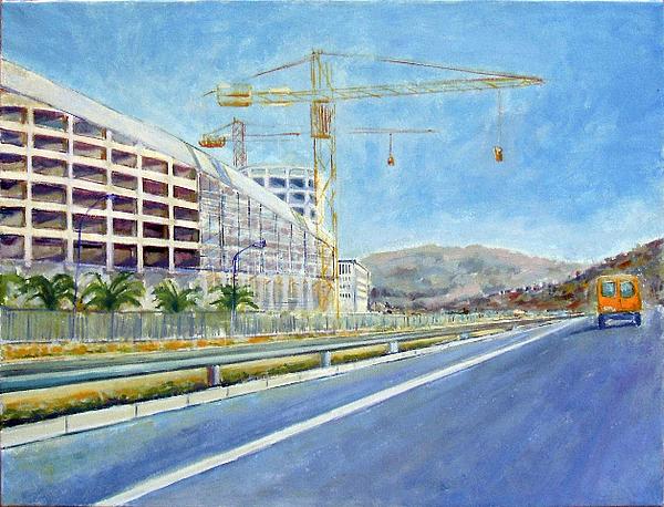 Landscape Painting - Cantiere Palazzo Di Giustizia Di Reggio Calabria by Fortunato Violi