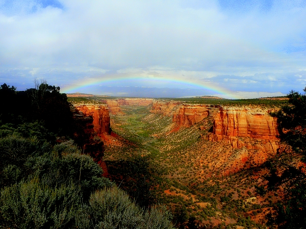 Rainbow Photograph - Canyon Rainbow by Ellen  Leigh
