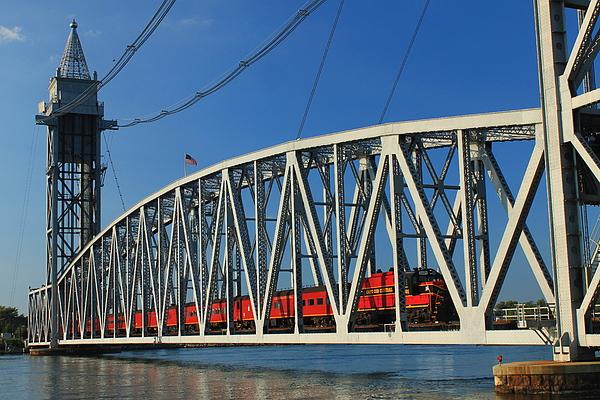 Railroad Photograph - Cape Cod Canal Railroad Bridge Train by John Burk