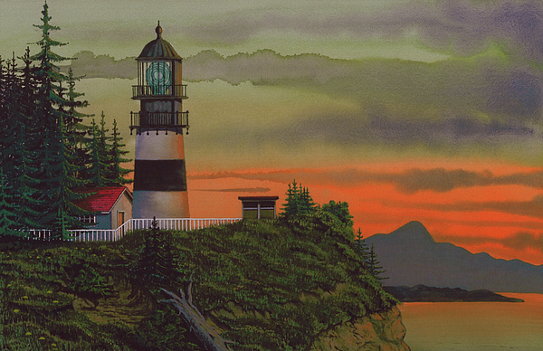 Cape Disappointment Lighthouse Painting - Cape Disappointment by James Lyman