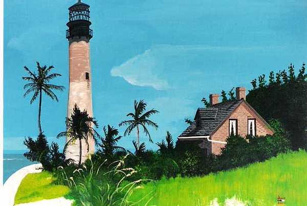 Cape Florida Lighthouse Painting by David Ellis