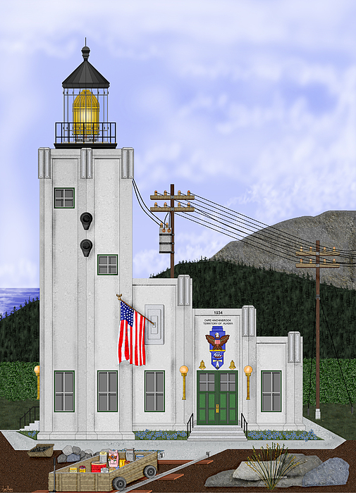 Lighthouse Painting - Cape Hinchinbrook Lighthouse In Alaska by Anne Norskog