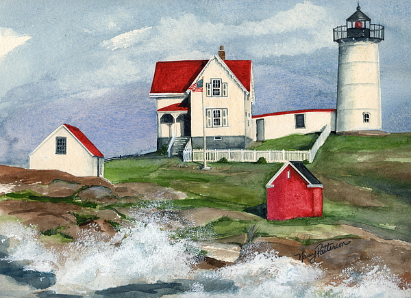 Watercolor Painting - Cape Neddic Lighthouse  by Nancy Patterson