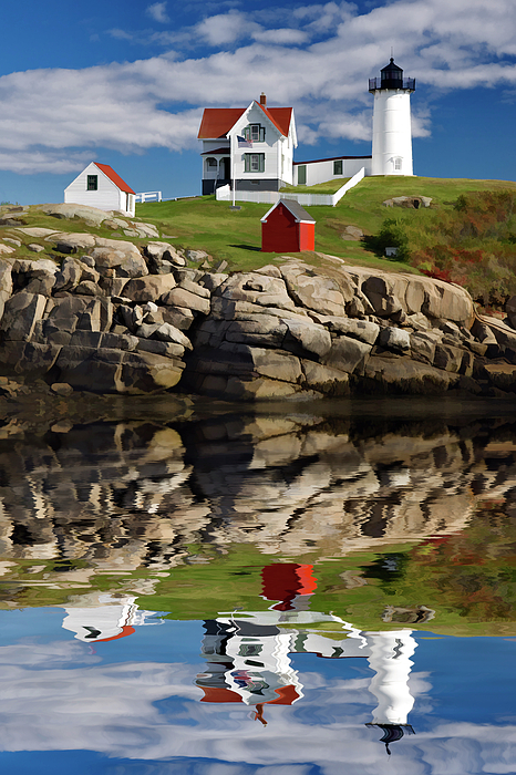 Painting Photograph - Cape Neddick Reflection - D003756a by Daniel Dempster