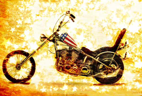 Easy Rider Mixed Media - Captain America by Russell Pierce