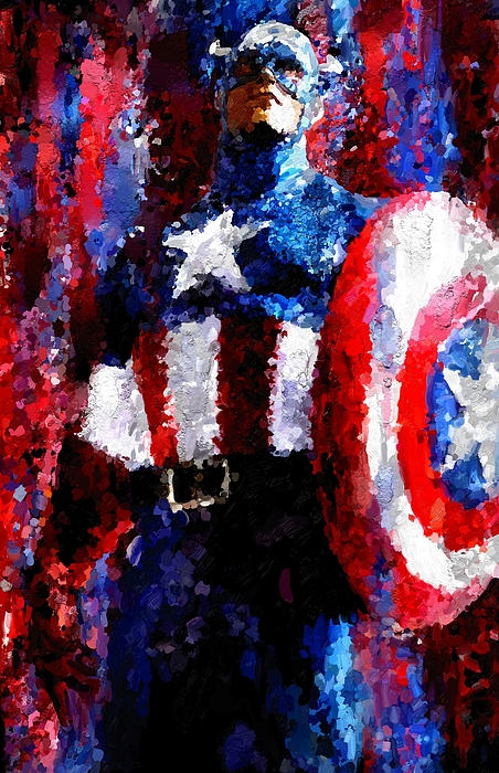 Captain America Painting - Captain America Signed Prints Available At Laartwork.com Coupon Code Kodak by Leon Jimenez