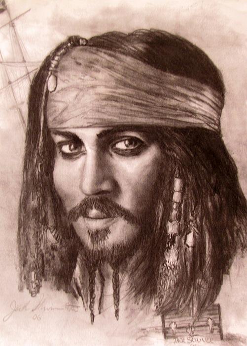 Pirate Drawing - Capt.jack by Jack Skinner