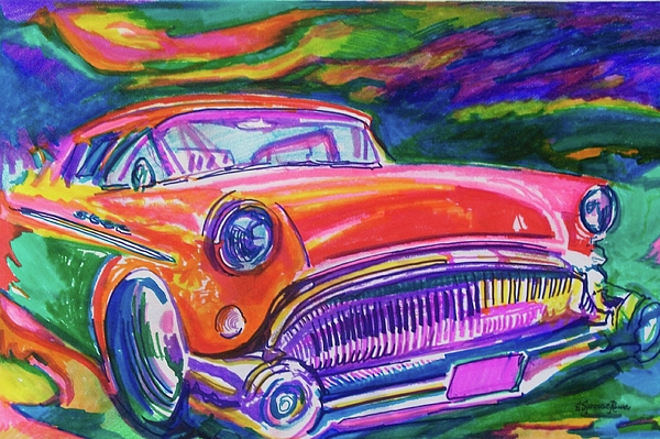 Bold Painting - Car And Colorful by Evelyn Sprouse Rowe