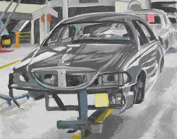 Lincoln Painting - Car In Process -- Plein Air Study by Margie Guyot