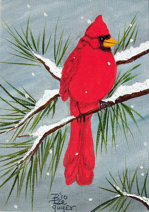 Cardinal Painting - Cardinal In Winter by Betty Lee Guyer