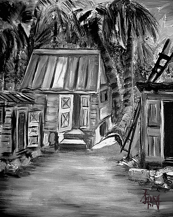 Landscape Paintings Painting - Caribbean Country House by Laura Fatta