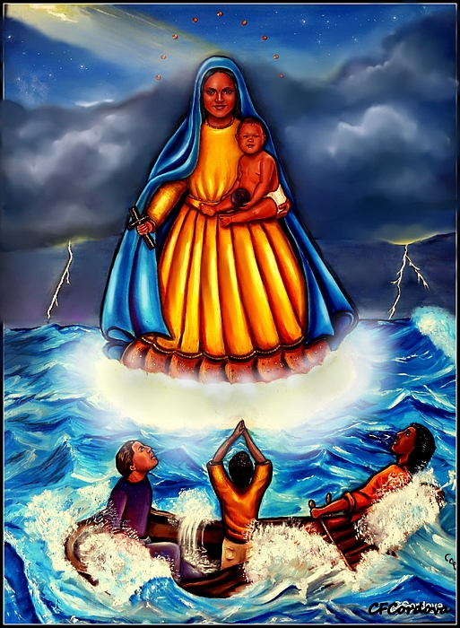 Virgin Mary Painting - Caridad Del Cobre by Carmen Cordova